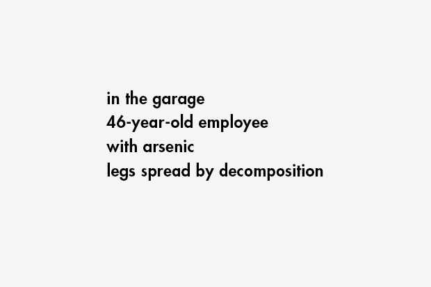 in the garage / 46-year-old employee / with arsenic / legs spread by decomposition