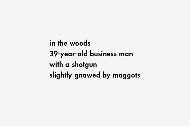 in the woods / 39-year-old business man / with a shotgun / slightly gnawed by maggots