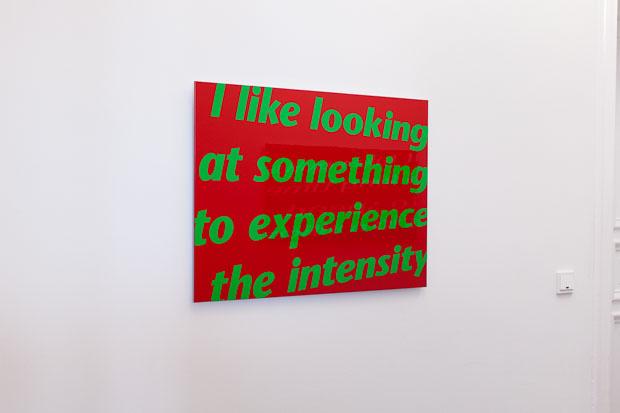 """I like looking at something"", textbased art, varnish coated aluminium composite panel, 2007/08"