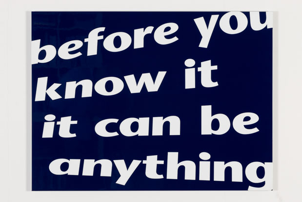 """""""before you know it"""", textbased art, varnish coated aluminium composite panel, 2007/08"""