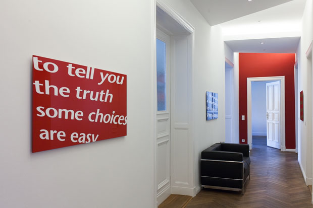 """""""to tell you the truth"""", textbased art, varnish coated aluminium composite panel, 2007/08"""