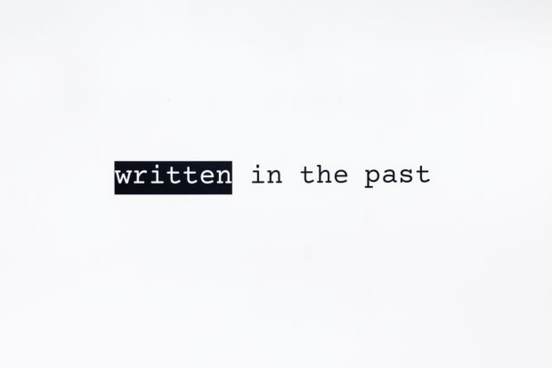 Written in the past, text installation
